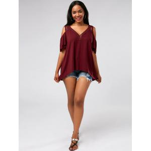 Crochet Cold Shoulder Tunic - WINE RED XL