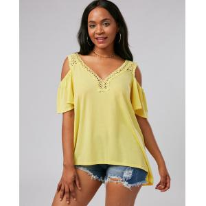 Crochet Cold Shoulder Tunic - YELLOW L