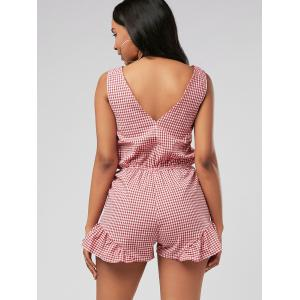Plunging Neck Bowknot Checked Romper - RED XL