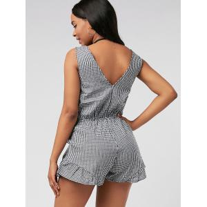 Plunging Neck Bowknot Checked Romper - BLACK S
