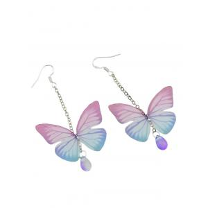 Butterfly Drop Earrings with Acrylic Gem - PINK