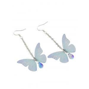 Butterfly Drop Earrings with Acrylic Gem -