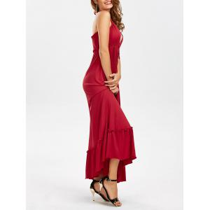 Halter Backless Maxi Flounce Plunge Dress - Red - L