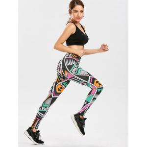 High Waist Geometric Print Leggings -
