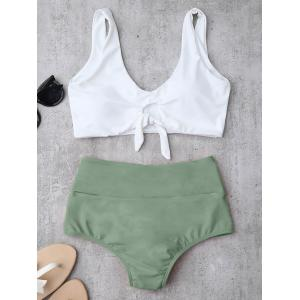 High Waisted Ruched Bikini Set - Light Green - M