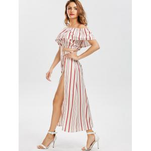 Off The Shoulder Striped Three Piece Dress - RED XL