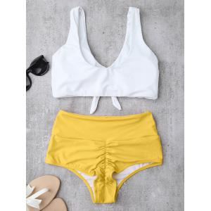 High Waisted Ruched Bikini Set - YELLOW M