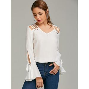 Bell Sleeve Cut Out Chiffon Top - WHITE L