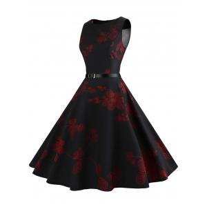 Floral Sleeveless Vintage Fit and Flare Dress - RED XL