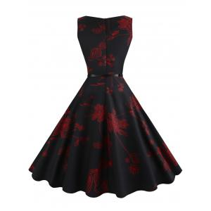 Floral Sleeveless Vintage Fit and Flare Dress - RED L