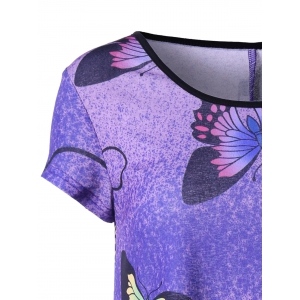Butterfly Pattern Handkerchief T-shirt - PURPLE L