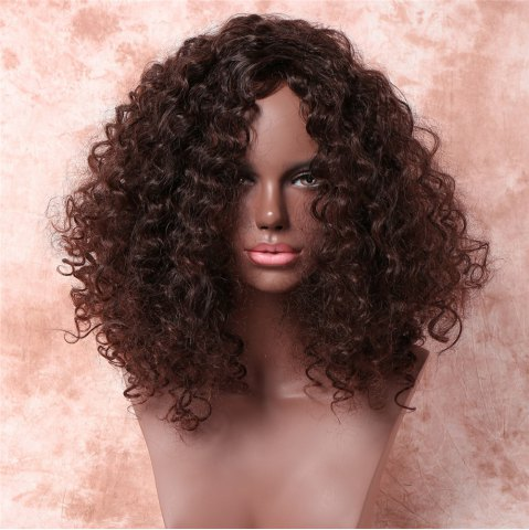 Unique Medium Shaggy Free Part Afro Curly Synthetic Wig - DEEP BROWN  Mobile