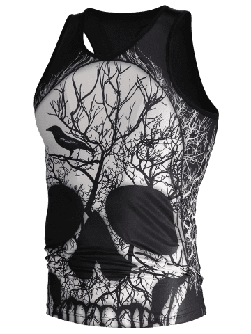 Affordable 3D Deadwood and Skull Print Tank Top - M BLACK Mobile
