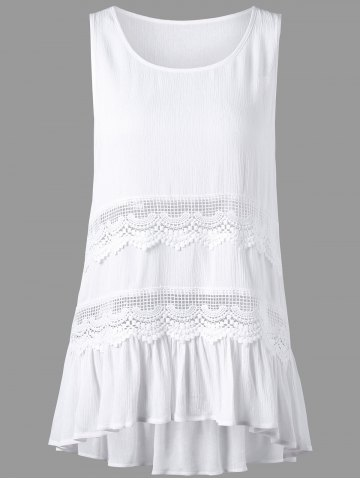 Sleeveless Openwork Insert High Low Hem Blouse - White - 2xl