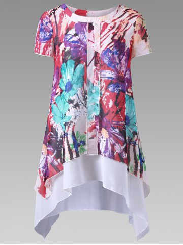 Floral Single Breasted Layered Blouse