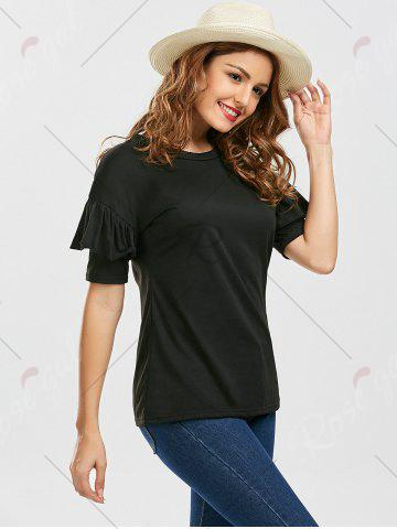 Online Ruffles Sleeve Loose Fit Top - S BLACK Mobile