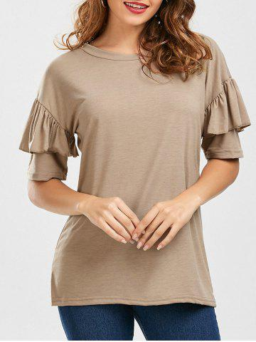 New Ruffles Sleeve Loose Fit Top - XL PALE PINKISH GREY Mobile