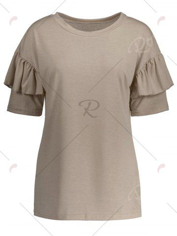 Online Ruffles Sleeve Loose Fit Top - XL PALE PINKISH GREY Mobile