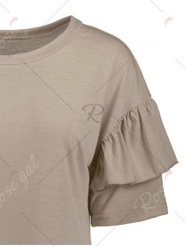 Outfits Ruffles Sleeve Loose Fit Top - XL PALE PINKISH GREY Mobile