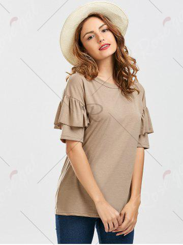 Cheap Ruffles Sleeve Loose Fit Top - XL PALE PINKISH GREY Mobile