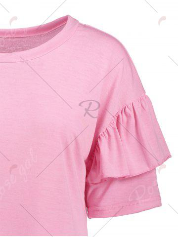 Sale Ruffles Sleeve Loose Fit Top - XL PINK Mobile