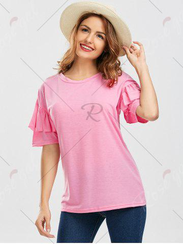 Latest Ruffles Sleeve Loose Fit Top - XL PINK Mobile