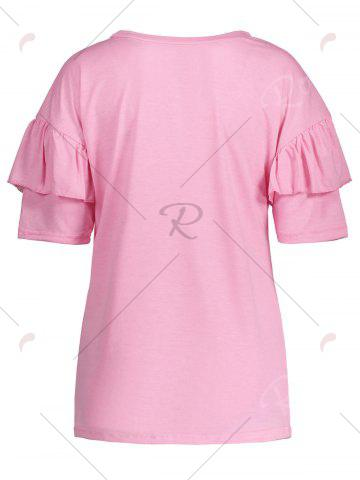 Shops Ruffles Sleeve Loose Fit Top - XL PINK Mobile