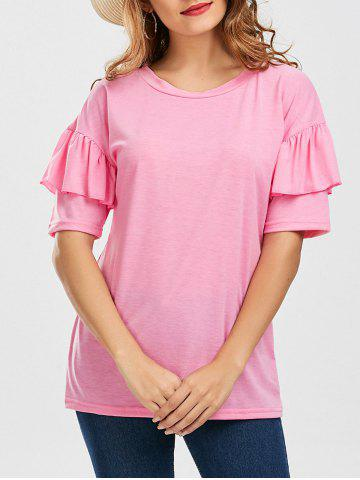 Online Ruffles Sleeve Loose Fit Top - XL PINK Mobile