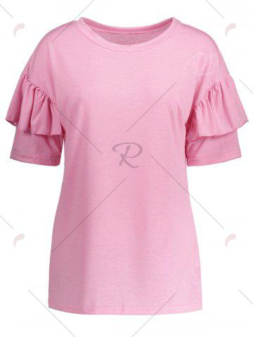 Fashion Ruffles Sleeve Loose Fit Top - XL PINK Mobile