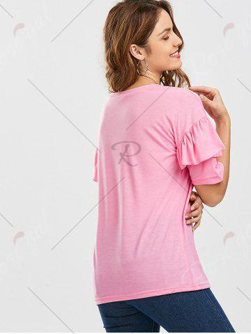 Hot Ruffles Sleeve Loose Fit Top - XL PINK Mobile