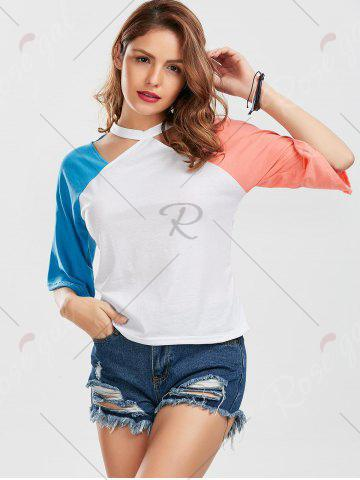 Fashion Color Block Raglan Sleeve Cut Out Tee - M BLUE AND PINK Mobile