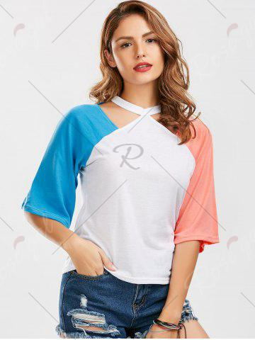Cheap Color Block Raglan Sleeve Cut Out Tee - M BLUE AND PINK Mobile