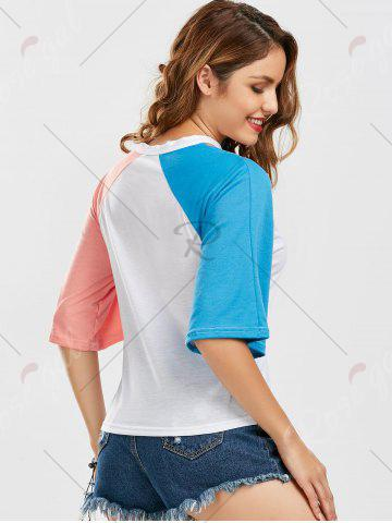 New Color Block Raglan Sleeve Cut Out Tee - M BLUE AND PINK Mobile