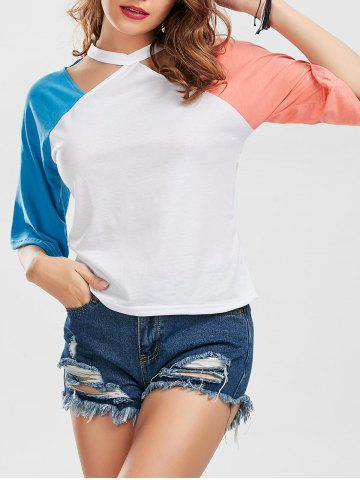 Unique Color Block Raglan Sleeve Cut Out Tee - M BLUE AND PINK Mobile