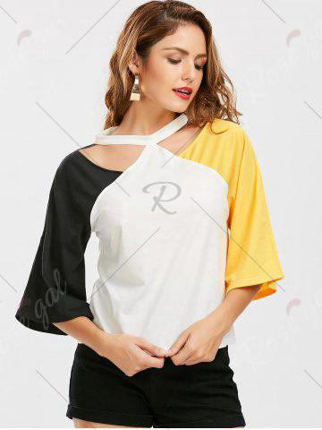 Trendy Color Block Raglan Sleeve Cut Out Tee - 2XL YELLOW AND BLACK Mobile