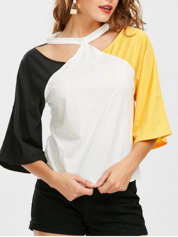 New Color Block Raglan Sleeve Cut Out Tee - 2XL YELLOW AND BLACK Mobile