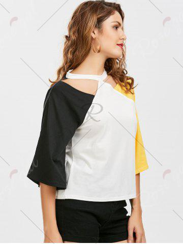 Buy Color Block Raglan Sleeve Cut Out Tee - 2XL YELLOW AND BLACK Mobile