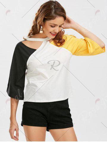 Hot Color Block Raglan Sleeve Cut Out Tee - 2XL YELLOW AND BLACK Mobile