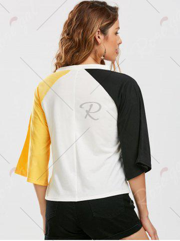 Fashion Color Block Raglan Sleeve Cut Out Tee - 2XL YELLOW AND BLACK Mobile