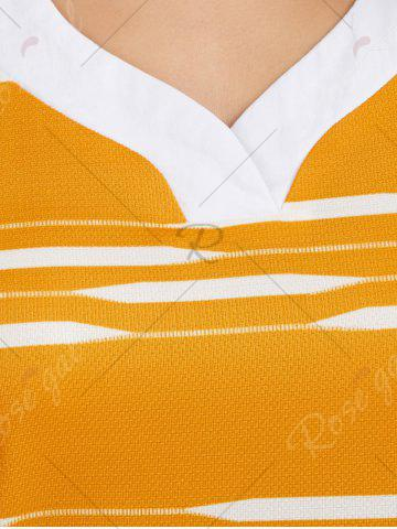 Store V Neck Longline Striped Tee - M YELLOW Mobile