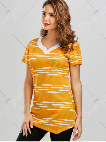 Sale V Neck Longline Striped Tee - M YELLOW Mobile