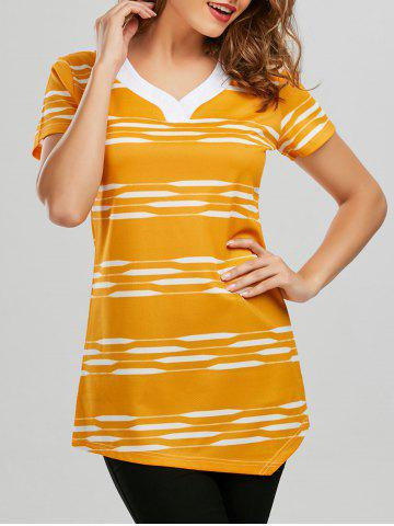 V Neck Longline Striped Tee - Yellow - 2xl