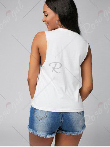 Best Letter Print Casual Tank Top - S WHITE Mobile