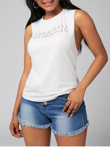 Store Letter Print Casual Tank Top - S WHITE Mobile