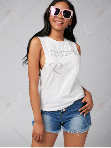 Buy Letter Print Casual Tank Top - S WHITE Mobile