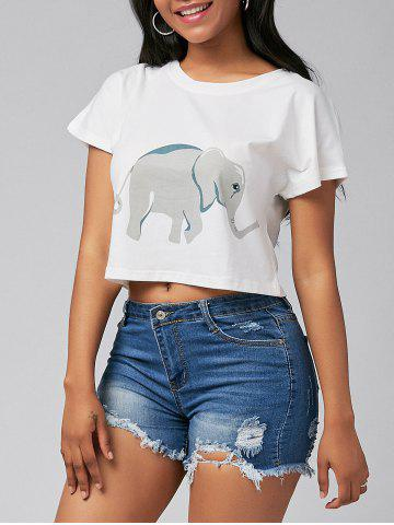 Outfits Cute Elephant Print Short Sleeve Crop Top - S WHITE Mobile