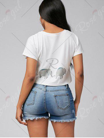 Buy Cute Elephant Print Short Sleeve Crop Top - S WHITE Mobile