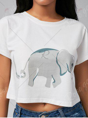 Unique Cute Elephant Print Short Sleeve Crop Top - S WHITE Mobile
