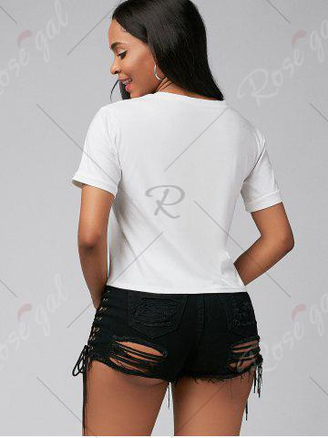 Outfits Crew Neck Cap Sleeve Graphic Tee - S WHITE Mobile