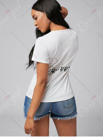 Chic Slim Fit Short Sleeve Graphic Tee - S WHITE Mobile